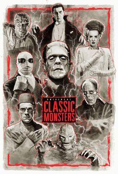 Monster Horror Movies, Classic Monster Movies, Horror Monsters, Classic Horror Movies, Classic Monsters, Classic Movie Posters, Horror Movie Posters, Arte Horror, Horror Art