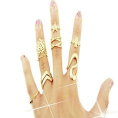 Lookatool Fashion Women Clover Leaf Star Joint Knuckle Na…