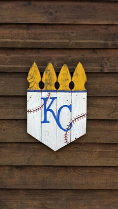 Rustic 16x22 KC Picket Crowns, Kansas City Royals Crown, KC Royals Decor, KC Royals Door Hanger, Royals Home Plate, Home Plate Door Hanger