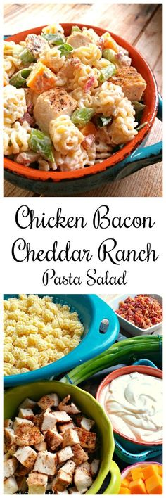Chicken Bacon Cheddar Ranch Pasta Salad! A pasta salad hearty enough for a meal and perfect for every occasion.