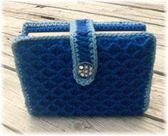 Bible / Book Cover Tote Adjustable Blue Crochet by DebbieCrochets, $20.00