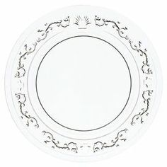 """Pressed glass dessert plate with a scrolling floral motif. Made in France.   Product: Set of 6 dessert platesConstruction Material: GlassColor: ClearFeatures: Made in FranceDimensions: 7.5"""" Diameter eachCleaning and Care: Dishwasher safe"""