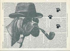 Book Print Detective Boxer Dog on Vintage Upcycle Book Print Art Print Dictionary Print Collage Print