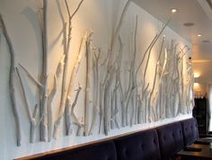 Branches painted white (Mica Restaurant via Little Victorian)