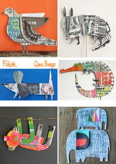 A Splash of the unusual through textiles, photography and illustration. 7 Arts, Art Carte, Motifs Animal, Paper Animals, Cardboard Art, Art Programs, Art Club, Art Plastique, Elementary Art