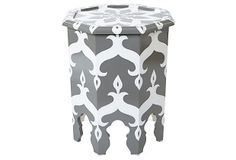 One Kings Lane - The Spice Route - Marina Octagonal Table, Gray/White