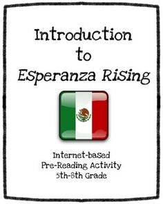 Introduction to Esperanza Rising (A Pre-Reading Research Project) Pre Reading Activities, Back To School Activities, Reading Groups, Reading Lessons, Teaching Reading, Research Projects, Book Projects, Teaching Schools, Teaching Resources
