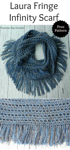 Laura Crochet Fringe Infinity Scarf The Laura fringe infinity scarf will be your new favorite scarf! This is light weight and extremely soft. Crochet Infinity Scarf Free Pattern, Crochet Shawl Free, Crochet Scarves, Crochet Yarn, Crochet Clothes, Irish Crochet, Infinity Scarf Patterns, Crochet Headbands, Crochet Granny