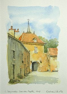 Epoisses, Côte-d'Or, France by Linda Vanysacker - house Watercolor Painting Techniques, Pen And Watercolor, Watercolor Landscape, Watercolor Illustration, Landscape Art, Landscape Paintings, Watercolor Paintings, Watercolours, Marilyn Monroe Painting