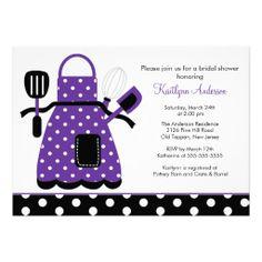 Fun Retro Kitchen Bridal Shower Invitation Purple