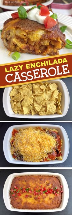 Lazy Enchilada Casserole made with 6 simple ingredients: ground beef, cheese, enchilada sauce, salsa, chips and onion. Easy Enchilada Casserole, Casserole Recipes, Enchilada Sauce, Cornbread Casserole, Mexican Casserole, Mexican Food Recipes, Beef Recipes, Snack Recipes, Cooking Recipes