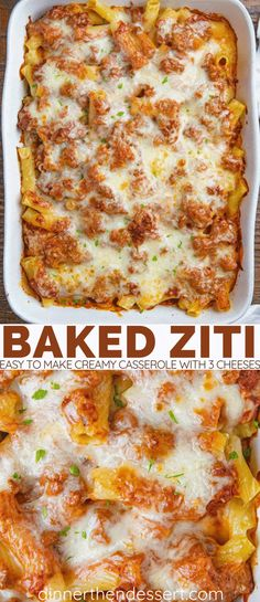 The ULTIMATE Baked Ziti (Three Cheese, & EASY!) - Dinner, then Dessert Ultimate Italian Baked Ziti creamy casserole with a homemade meat sauce, super EASY to make and super cheesy (three cheeses!) filling in under an hour. Baked Ziti With Ricotta, Easy Baked Ziti, Italian Dinner Recipes, Italian Dishes, Italian Baked Ziti Recipe, Italian Meals, Homemade Meat Sauce, Recipes With Meat Sauce, Italian Casserole