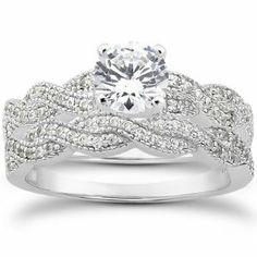 Real .95CT Pave Diamond Matching Engagement Wedding Ring Set Vintage Milgrain