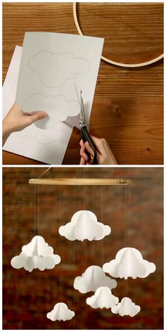 Weekday Crafternoon: Make a DIY paper cloud mobile (http://blog.hgtv.com/design/2013/05/07/weekday-crafternoon-diy-paper-cloud-mobile/?soc=pinterest)