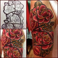 Rose tattoo. Stained glass look.