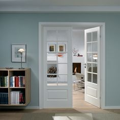 Make Home Easier Sliding Doors, New Kitchen, French Doors, Home Projects, Home Office, Tall Cabinet Storage, Minimalism, Bookcase, Sweet Home