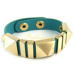 Womens Genuine Leather 14K Gold Plated Bracelet Cool Skyblue Bangle Cuff Chain
