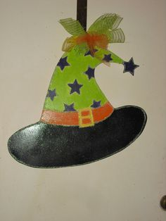 Hey, I found this really awesome Etsy listing at https://www.etsy.com/listing/203530022/ready-to-ship-witch-hat-door-hanger