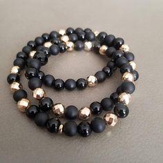 Gemstone Stretch Wrap Bracelet Black Onyx & Gold Hematite