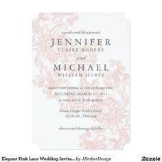Elegant Pink Lace Wedding Invitation