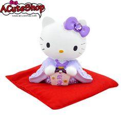 Hello Kitty Kimono Dress Ceramic Piggy Bank Coin Bank Deco Purple - Luck
