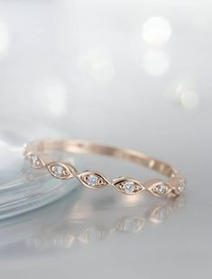 Rose Gold Wedding Band women Art Deco Diamond marquise vintage Eternity band Antique Dainty Stacking Bridal Jewelry Promise Anniversary gift - Sites new Vintage Diamond Wedding Bands, Gold Wedding Rings, Wedding Art, Gold Weddings, Gift Wedding, Silver Rings, Ring Set, Ring Verlobung, Tiara Ring