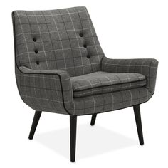 Jonathan Adlers's gorgeous mrs. godfrey chair in manchester charcoal. A beautiful retro furniture meets fashion windowpane