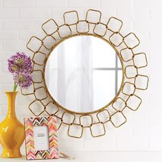 Metropolitan Wire Link Mirror with Antiqued Gold Finish Materials: Glass/Metal