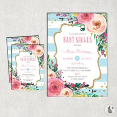 FLORAL Baby Shower Invitation. Pink and Blue Shower Digital Invite. Rustic Flowers. Shabby Chic Bridal High Tea Shower. Kitchen Tea.