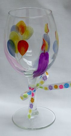 Happy Birthday Wine Glass Hand Painted by ConniesCreations2010, $10.00
