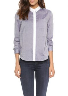 Turndown Collar Long Sleeve Light Purple Shirt