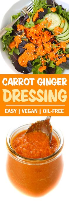 AMAZING Carrot Ginger Miso Dressing! A Japanese steakhouse copycat recipe that's oil-free, vegan, and gluten-free but FULL of refreshing flavor and depth. Serve it over a crisp salad or as a fun new veggie dip! #vegan