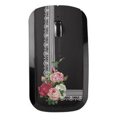 #white - #Elegant Vintage Roses and White Lace Wireless Mouse