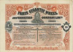Paris Gigantic Wheel and Varieties Com. Lim. - #scripomarket #scriposigns #scripofilia #scripophily #finanza #finance #collezionismo #collectibles #arte #art #scripoart #scripoarte #borsa #stock #azioni #bonds #obbligazioni