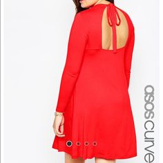 Babydoll Dress Red/Orange babydoll dress with a bow on the back. ASOS Dresses