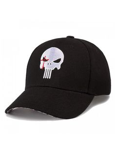 EMBROIDERED ADJUSTABLE BALL CAP HAT! SKULL WITH FLAMES
