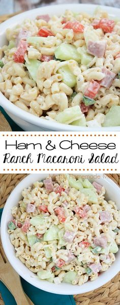 Ham and Cheese Ranch Macaroni Salad - perfect for busy school nights and lunch boxes! SmithfieldFlavor AD