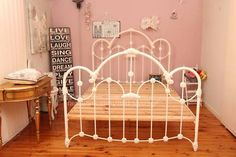 Here It Is Normandy Just Arrived Excellent Used Condition Picture The Actual Bed Size Queen Colour Antique White Comes With Wooden Slats And