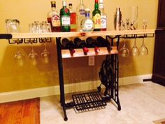 Industrial Style Portable Bar and Wine Rack