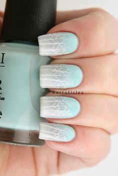 Winter trees nail art, with a blue and grey gradient background, stamped with Bundle Monster BM-407 #40GNAI #52WC