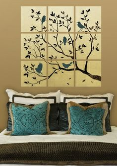 Birds in tree on canvasses (birds are turquoise)