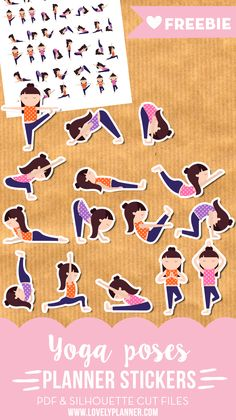 Free printable yoga / fitness planner stickers: 50 stickers in 15 different yoga poses. PDF and SIlhouette cut files included. More planner freebies on lovelyplanner.com