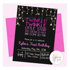 Twinkle Twinkle Little Star Birthday Invitation, Invite, Boy or Girl Colors, First Birthday Digital File Only Personalized Invitations, Twinkle Twinkle Little Star, Birthday Invitations, First Birthdays, Rsvp, Invite, Boy Or Girl, Notes, Messages