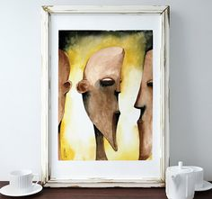 African inspired watercolor print, Giclee print available in 3 sizes