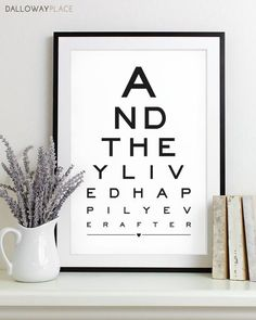 Wall Art Print Eye Chart - love quote art typography poster anniversary gift wedding shower