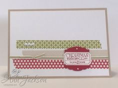 Card made with Stampin Up That's the Ticket stamp set, Season of Style washi tape, & Artisan & Ticket pinches.