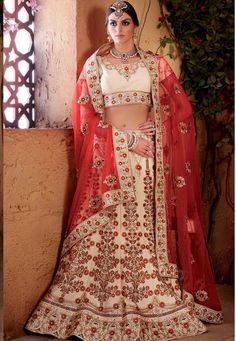 #Cream #Banarasi #Raw #Silk #Semi #Stitch #Lehenga #with #Choli And #Dupatta. #Cream #Banarasi #Raw #Silk #flared #Semi #Stitch #lehenga #designed with #Heavy #Zari,#Resham #Embroidery #With #Stone #Work And #Butta #Work With #Lace #Border. INR: 26,121.00 With Attractive Discount Offer. Grab: http://tinyurl.com/h87et6c