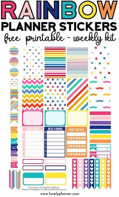 This weekly kit includes different types of planner stickers: meal planning habit tracker checklists half boxes full boxes etc. Made to fit the Classic Happy Planner. Many other matching free rainbow planner s To Do Planner, Free Planner, Planner Pages, Happy Planner, Teacher Planner, Planner Ideas, Printable Planner Stickers, Free Printables, Planner Template