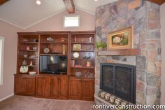 Wooden cabinets with a wooden fireplace