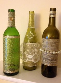 Upcycled Wine Bottle Centerpieces with gold by BottlesByBirdie, $35.00